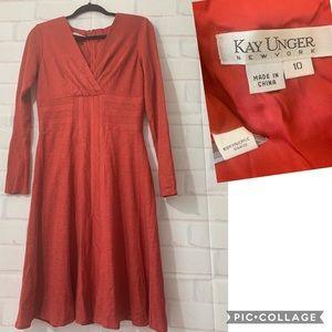 Kay Unger Rust Knit Long Sleeve Dress Size 10
